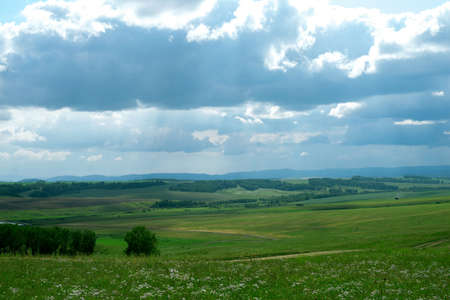 landscape, green agricultural fields on the horizon forest, and the sky with large dark Cumulus clouds