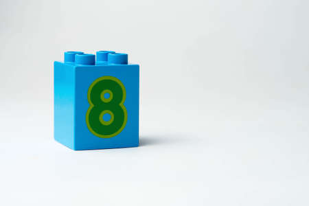 the number eight written on the block from the childrens constructor
