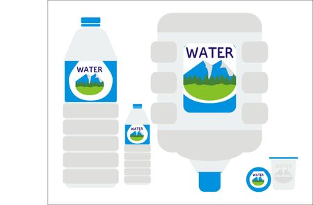 Mineral drinking water in various containers from the biggest to smallest