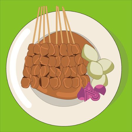 Vector illustration of a plate of Indonesian grilled chicken skewers (sate ayam) in peanut sauce with lontong rice cake and bits of shallots