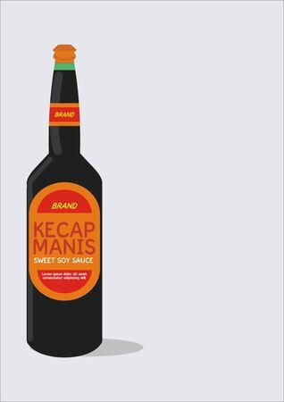 Télévision illustration vectorielle de bouteille de sauce soja sucrée indonésienne