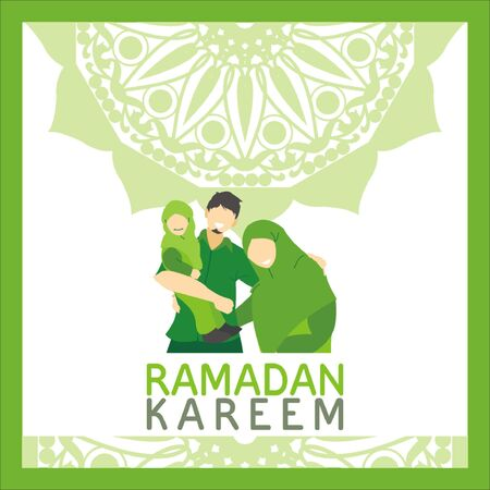 Vector flat illustration for Ramadan, depicting a small muslim family consists of father, mother, and a little daughter