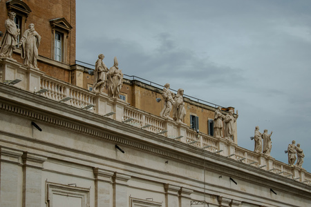 Bernini's Saints Statues atop of St. Peter's Square Colonnade, Vatican, Italy