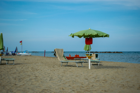 The Beach from San Benedetto del Tronto with lounge chairs and umbrellas, Adriatic Sea, Ascoli Piceno, Italy