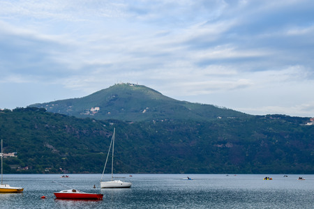 Boats on the Lake Albano in the Alban Hills of Lazio, Italy