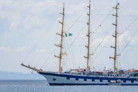 Sailing ship in Amalfi Harbor Marina Coppola, Amalfi Port, province of Salerno, the region of Campania, Amalfi Coast, Costiera Amalfitana, Italy Stock Photo