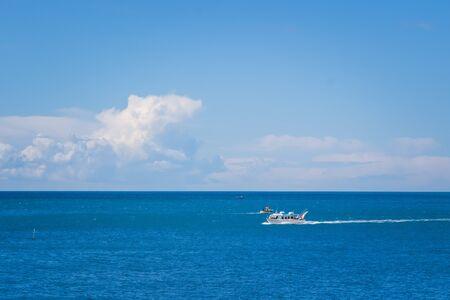 Mini-cruise boat in Amalfi Harbor Marina Coppola, Amalfi Port, province of Salerno, the region of Campania, Amalfi Coast, Costiera Amalfitana, Italy