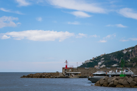 Beautiful view of Amalfi Marina Coppola port in the province of Salerno, the region of Campania, Amalfi Coast, Costiera Amalfitana, Italy