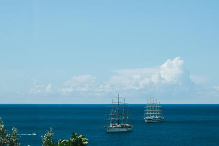 View of sailing ship off the coast, Amalfi Coast, Campania, Costiera Amalfitana, Italy