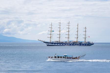 Sailing ship in Amalfi Harbor Marina Coppola, Amalfi Port, province of Salerno, the region of Campania, Amalfi Coast, Costiera Amalfitana, Italy Editorial