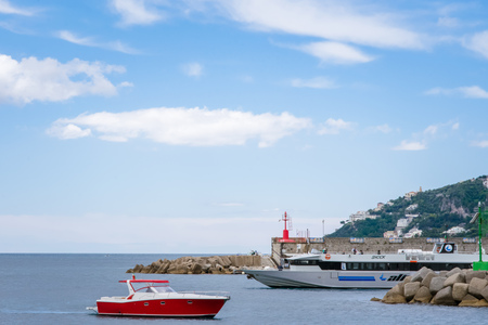 Yachts in Amalfi Harbor Marina Coppola, Amalfi Port, province of Salerno, the region of Campania, Amalfi Coast, Costiera Amalfitana, Italy