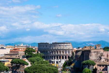 Colosseum seen from the top of Altar of the Fatherland or Altare della Patria, Rome, Italy