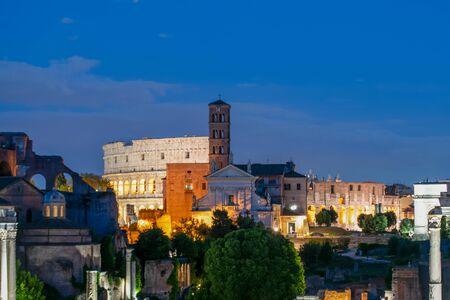 Landscape of the Colosseum at night, Rome, Italy Banco de Imagens - 130818706