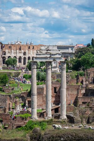 Temple of Castor and Pollux,  Roman Forum in Rome, Italy Banco de Imagens