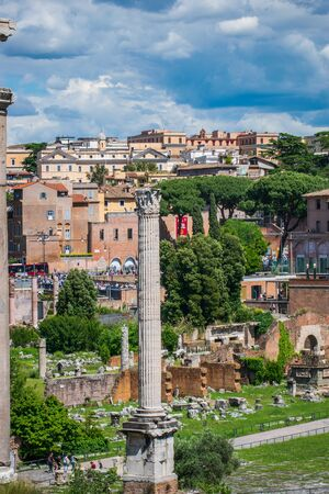 Landscape of the ruins from the Roman Forum, Rome, Italy Banco de Imagens - 130818711