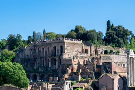 Landscape of the ruins from the Roman Forum, Rome, Italy Banco de Imagens - 130818716