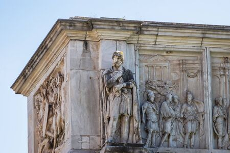 Statues on the Arch of Constantine, Roman Forum, Rome, Italy