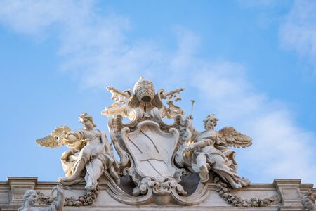 Marble sculpture from Trevi Fountain or Fontana di Trevi, Rome, Italy Banco de Imagens