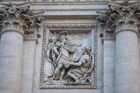 Marble sculpture from Trevi Fountain or Fontana di Trevi, Rome, Italy Banco de Imagens - 130818742