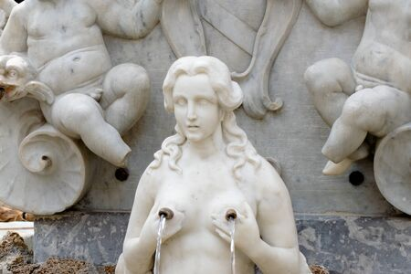 Marble Statues part of the St Andrew Fountain, Amalfi Coast, Piazza del Duomo, Italy Stok Fotoğraf