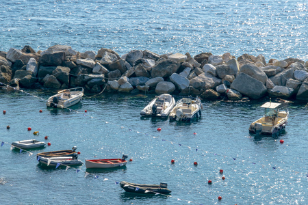 Boats, Sailing Ships, on the port of Riomaggiore, Cinque Terre, La Spezia, Italy Editorial