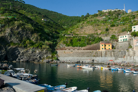 The harbor from Vernazza, Cinque Terre, La Spezia, Italy Editorial