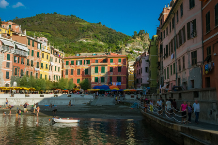 The colorful harbor of Vernazza, Cinque Terre, Italy Editorial