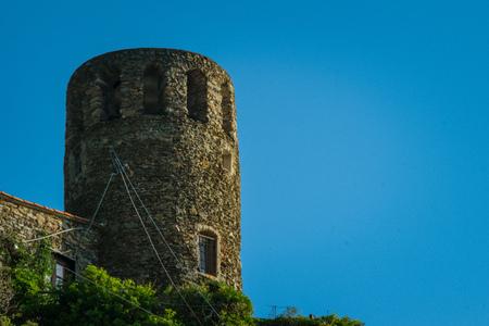 Doria Castle from Vernazza, Cinque Terre, La Spezia, Italy Banco de Imagens - 133426077