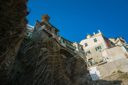 Buildings above the new beach of Vernazza, Cinque Terre, La Spezia, Italy