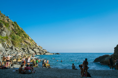 The new beach of Vernazza from Cinque Terre, La Spezia, Italy
