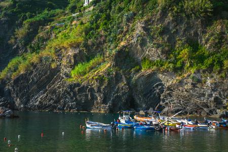 Colorful boats in the harbor of Vernazza, Cinque Terre, La Spezia, Italy Banco de Imagens - 133426082