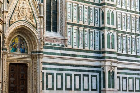 The lateral walls of Cathedral of Santa Maria del Fiore in Florence, Tuscany, Italy Banco de Imagens