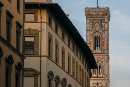 The tower of Cathedral of Santa Maria del Fiore in Florence, Tuscany, Italy Banco de Imagens