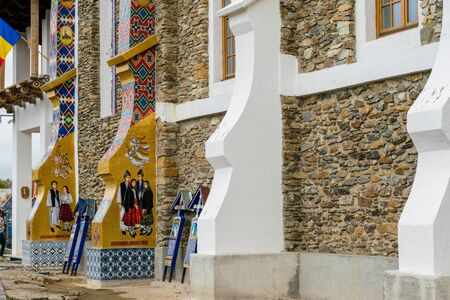 The external walls of the church of the birth of the Blessed Virgin Mary from Merry Cemetery, Sapanta, Romania Stock Photo