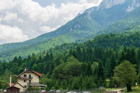 Relaxation place at the foot of the Piatra Craiului massif, Plaiul foii, Zarnesti, Brasov, Romania Foto de archivo