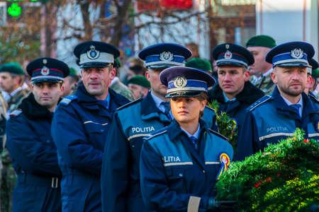 Romanian soldiers at the December 1 parade from Vatra Dornei Foto de archivo - 150040172