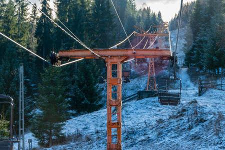 Vatra Dornei chairlift in a winter landscape, Romania Editorial