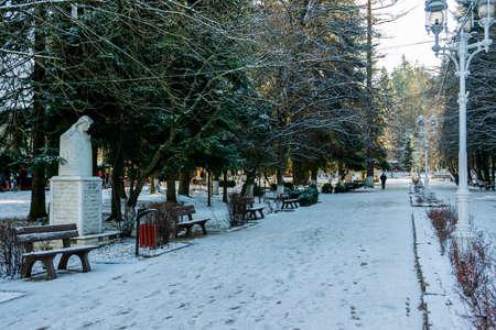 Vatra Dornei municipal park in a winter landscape, Romania Foto de archivo - 150040185