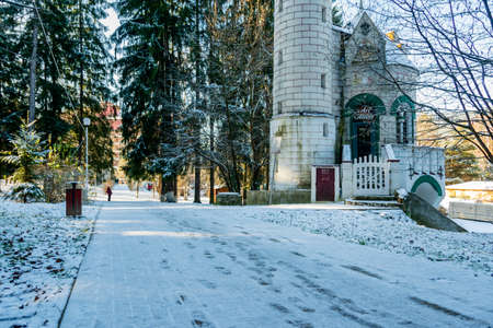 Vatra Dornei municipal park in a winter landscape, Romania