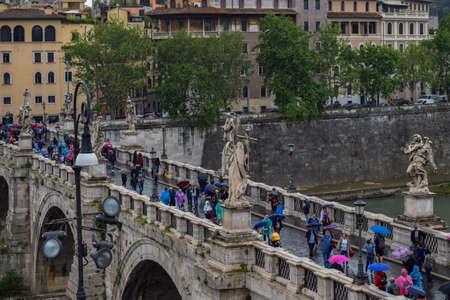 St. Angelo Bridge, Ponte Sant'Angelo, Sant' Angelo Castle, Mausoleum in Rome, Italy