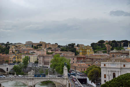Panoramic view of the St. Angelo Bridge, Ponte Sant'Angelo, Sant' Angelo Castle, Mausoleum in Rome, Italy