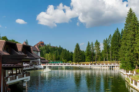 Artesian fountain from the Miorita lake, Poiana Brasov, Romania
