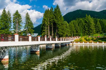 The bridge that crosses the Miorita lake, Poiana Brasov, Romania