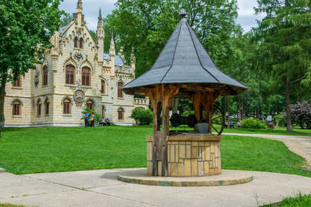 A well in the yard of the Sturdza castle in Miclauseni, Romania