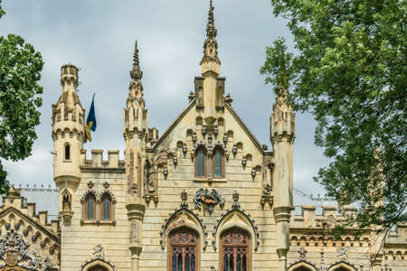 The facade of the Sturdza castle in Miclauseni, Romania