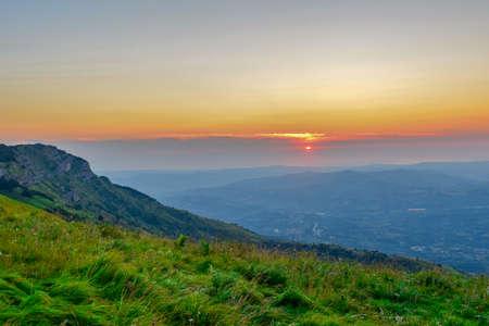 The capturing of the sunrise on the mountain chain Gran Sasso located in the National Park Gran Sasso in Prati di Tivo, Teramo province, Abruzzo region, Italy