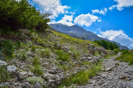 Corno Piccolo panoramic view, Gran Sasso Mountain chain, Teramo province, Abruzzo region, Italy Foto de archivo