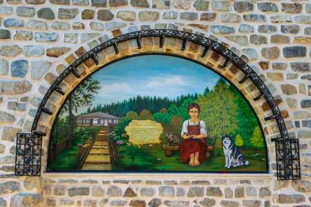 Painting on the wall of Agapia Orthodox Monastery, Neamt, Romania Editorial
