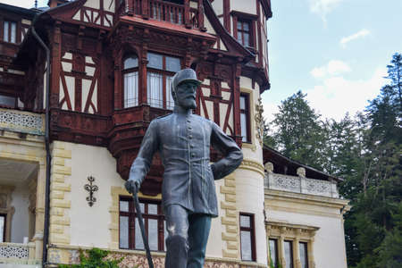 King Carol I Statue Situated in Front of Peles Castle, Sinaia, Prahova, Romania