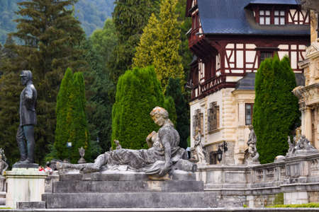 Statue of a Woman Situated in Front of Peles Castle, Sinaia, Prahova, Romania Editorial